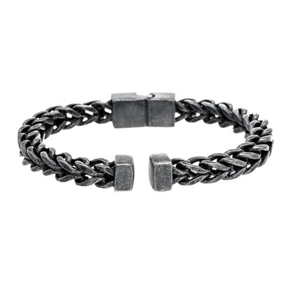 Imagen de Silver-Tone Stainless Steel Oxidized Cuban Chain Cuff Hinge Bangle