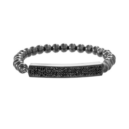 Picture of Black-Tone Stainless Steel Black Cubic Zirconia Pave Bar Ball Bead Stretch Bracelet