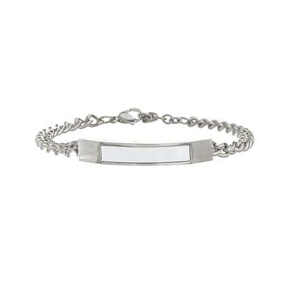 Imagen de Silver-Tone Stainless Steel Freshwatwer Pearl Bar Charm 7+1 Curb Chain Bracelet