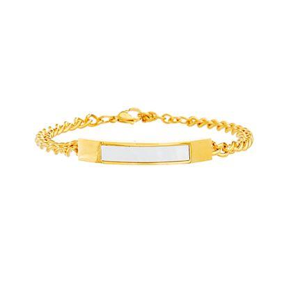 Imagen de Gold-Tone Stainless Steel Freshwater Pearl Bar Curb Chain Bracelet