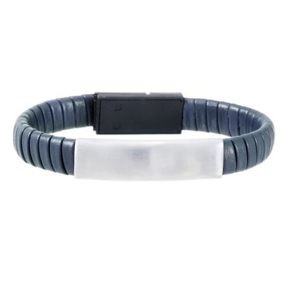 Imagen de Silver-Tone Stainless Steel Men's ID Bar 7 Navy Blue Wrap Around Leather Hidden USB Charger Bracelet
