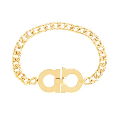 Picture of Gold-Tone Stainless Steel Barred Circle Design 6.5 Curb Chain Bracelet