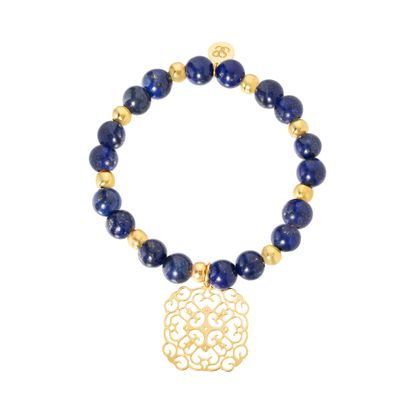 Imagen de STAINLESS STEEL GOLD IP ROUND FIIGREE  LAPIS BEADED BRACELET
