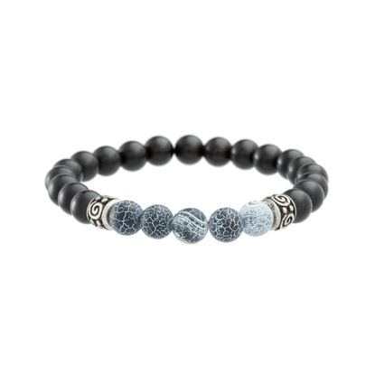 Imagen de Silver Tone Stainless Steel Black Beads Stretchy Bracelet