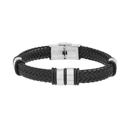 Imagen de Silver Tone Stainless Steel Braided Leather Black Bracelet