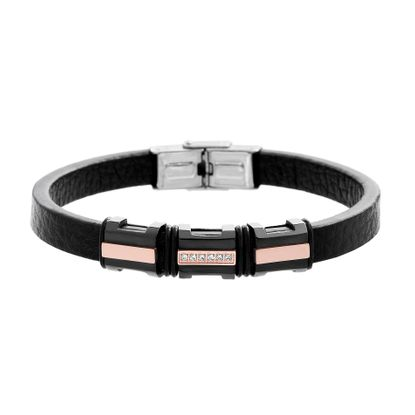 Imagen de Tri-Tone Stainless Steel Men's Cubic Zirconia Rose/Black/Silver IT-Station Black Leather Bracelet