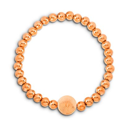 Imagen de Rose Gold-Tone Stainless Steel Round Prayer Station Beaded Stretch Bracelet