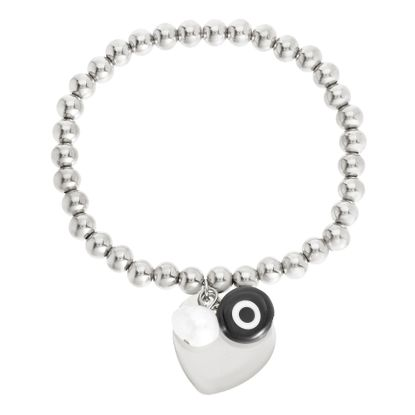 Picture of Silver-Tone Stainless Steel Evil Eye/Pearl/Heart Charms Beaded Stretch Bracelet