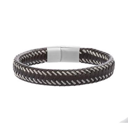 Imagen de Silver-Tone Stainless Steel Men's Leather Weaved Design Slip On Lock Bracelet