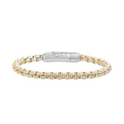 Imagen de Two-Tone Stainless Steel Crystal Bar Rolo Chain Bracelet