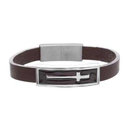 Imagen de Men's Cross Station Charm on Brown Leather Bracelet in Stainless Steel