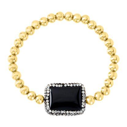 Imagen de Gold-Tone Stainless Steel Rectangular Black Stone Station Beaded Stretch Bracelet