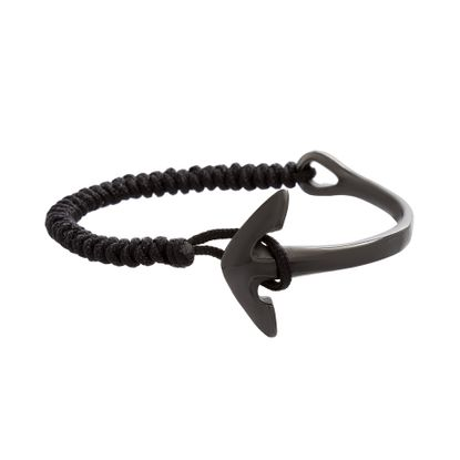 Imagen de Black-Tone Stainless Steel Men's Anchor Hook Cord Bracelet