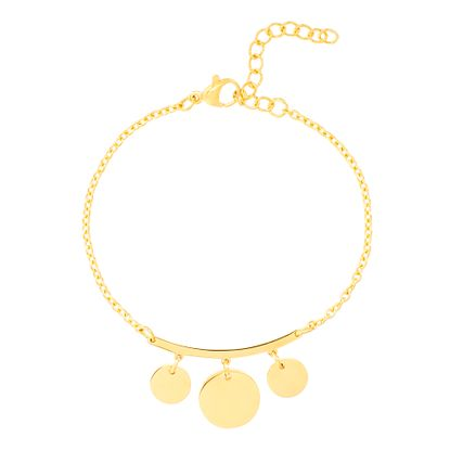 Picture of Gold-Tone Stainless Steel Curved Bar Dangling Discs Charms 6.5 Cable Chain Bracelet