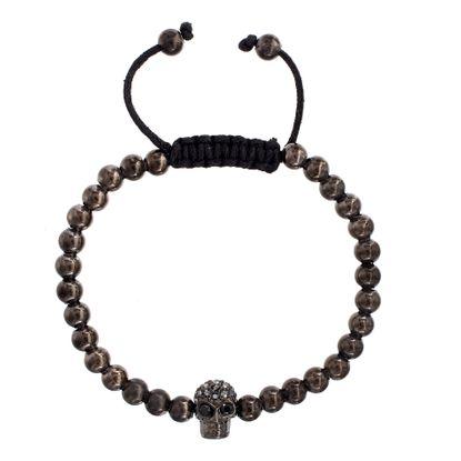 Imagen de Hematite Stainless Steel Men's Cubic Zirconia Skull Charm Beaded Adjustable Bracelet