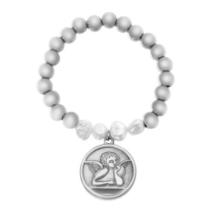 Picture of Silver-Tone Stainless Steel Oval Angel Disc Charm Beaded Stretch Bracelet