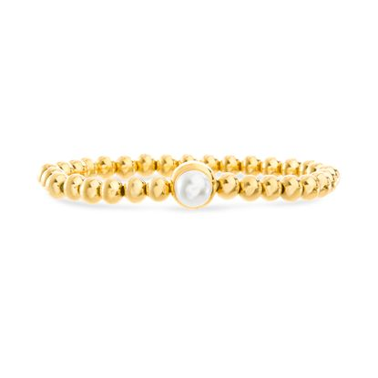 Imagen de Gold Plated Stainless Steel Freshwater Pearl Circle Charm Beaded Stretch Bracelet