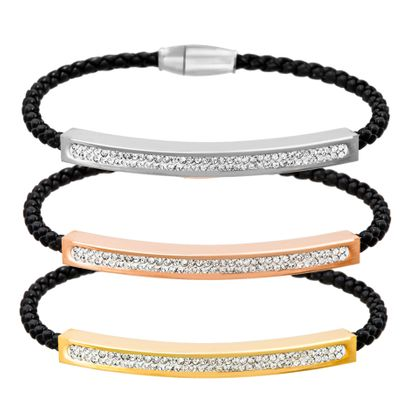 Imagen de Tri-Tone Stainless Steel Crystal Bar Braided Black Cord Trio Bracelet Set