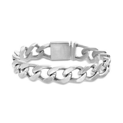 Imagen de Silver-Tone Stainless Steel Cable Chain Link Bracelet
