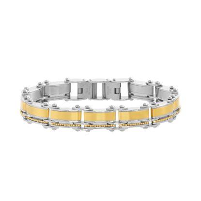 Imagen de Two-Tone Stainless Steel Striped & Ridged Square Link Men's Bracelet