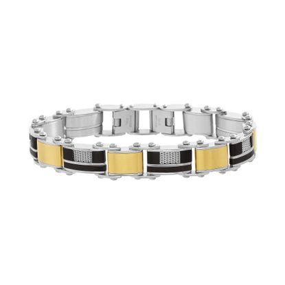 Imagen de Tri-Tone Stainless Steel Mesh Square Link Men Bracelet