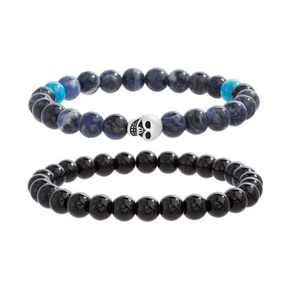 Imagen de Onyx & Multi-Colored Stone Skull Bracelet Set in Oxidized Stainless Steel