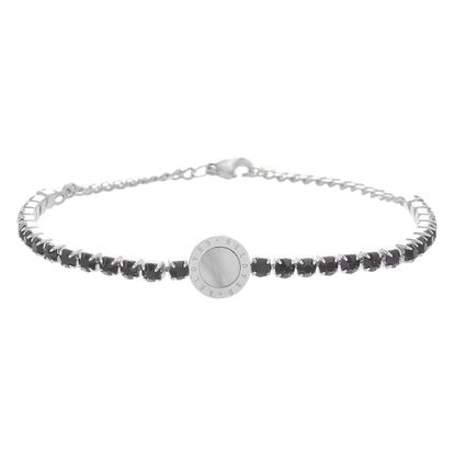 Imagen de Genuine Mother of Pearl and Black Faceted Crystal Circle Bracelet in Stainless Steel