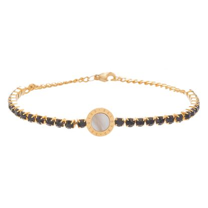 Imagen de Genuine Mother of Pearl and Black Faceted Crystal Circle Bracelet in Gold IP Stainless Steel