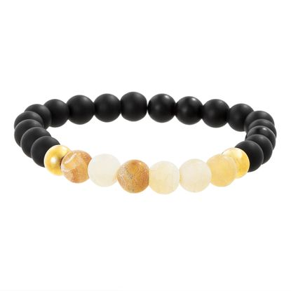 Imagen de Black Stone & Granite Beaded Men's Bracelet in Gold IP Stainless Steel