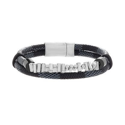 Imagen de Black IP & Silver Plated Men's Stainless Steel Bar Double Stranded Blue & Black Leather Bracelet
