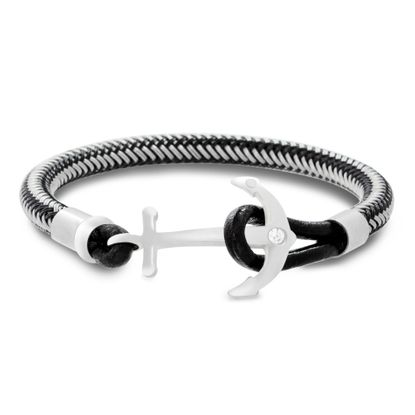 Imagen de Men's Anchor Hook Black Leather Bracelet in Two-Tone Stainless Steel