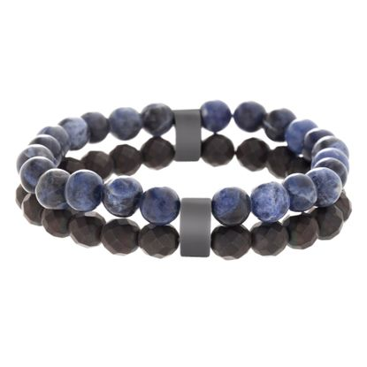 Imagen de Men's Lab Created Lapis and Black Faceted Stone Double Strand Bead Bracelet in Black IP Stainless Steel