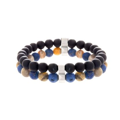 Imagen de Natural/Lapis Stone and Onyx Beaded Duo Bracelet Set in Stainless Steel