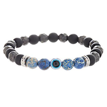 Imagen de Men's Onyx & Blue Stone Beads Evil Eye Bracelet in Gray IP Stainless Steel