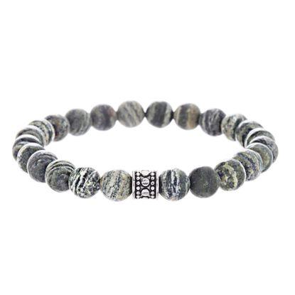 Imagen de Green Stone Beaded Men's Bracelet in Oxidized Stainless Steel