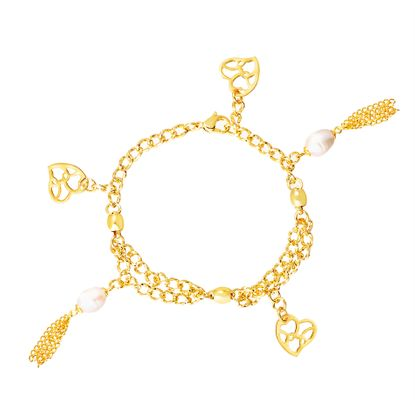 Imagen de Cultured Freshwater Pearl Heart Bracelet in Gold IP Stainless Steel