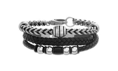 Imagen de Steve Madden Burnished Silver-Tone Stainless Steel Oval Facet Beads 8 Wheat Bracelet