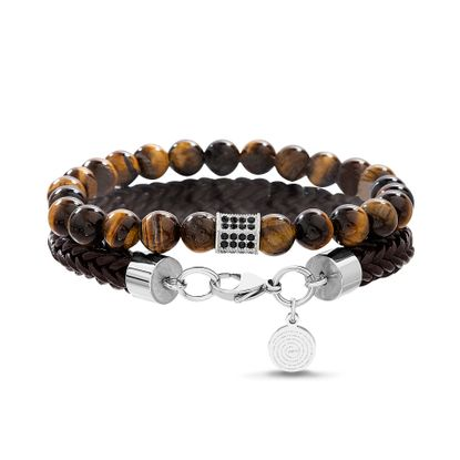 Picture of Silver-Tone Stainless Steel Men's Prayer Charm 7.5 Brown Braided Leather Bracelet