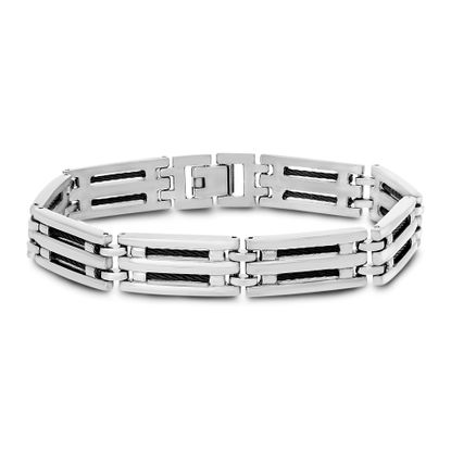 Imagen de Two-Tone Stainless Steel Twisted Wire DesignRectangle Link Bracelet