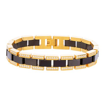 Picture of Two-Tone Stainless Steel Men's Double Row Cubic Zirconia Tungsten Link Bracelet