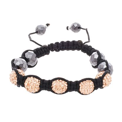 Picture of Black-Tone Stainless Steel Topaz Cubic Zirconia Balls Facet Hematite Beads Adjustable Slider Bracelet