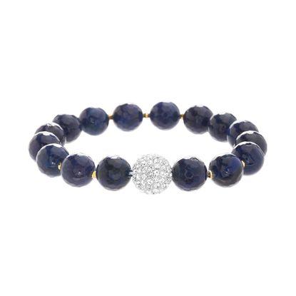 Imagen de Sterling Silver Cubic Zirconia Crystal Ball Amethyst Bead Bracelet
