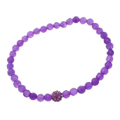 Imagen de Sterling Silver Purple Cubic Zirconia Amethyst Beaded Stretch Bracelet