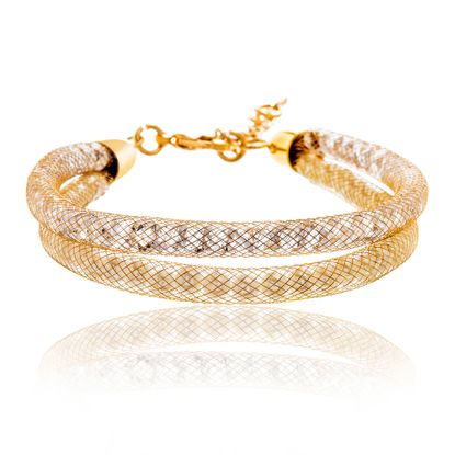Picture of Gold-Tone Alloy Crystal Twisted Design Double Stranded Mesh Chain Bracelet