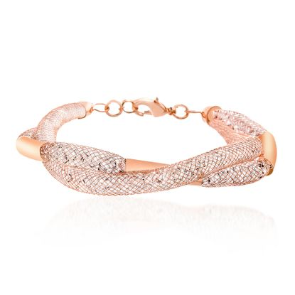 Imagen de Rose-Tone Alloy Crystal Curved Bar Twisted Design Double Stranded Mesh Chain Bracelet