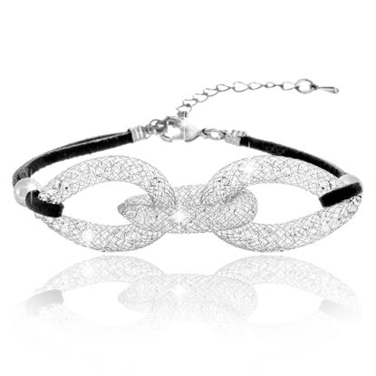 Imagen de Silver-Tone Alloy Crystal Interlocked Rings Black Cord Bracelet