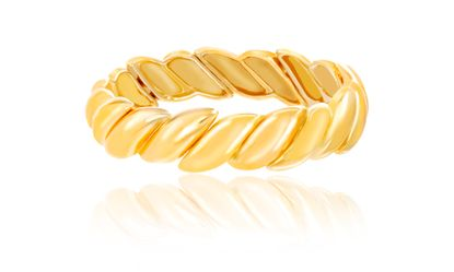 Imagen de Gold-Tone Alloy Textured Design Stretch Bracelet