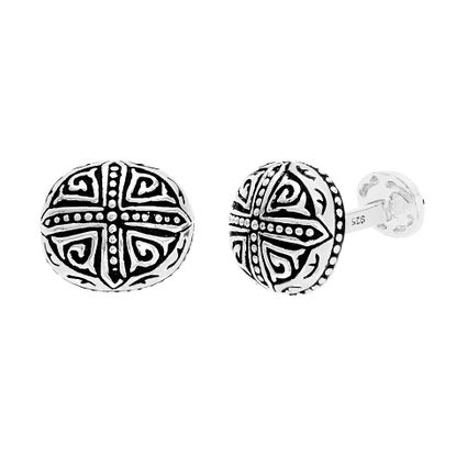 Imagen de Sterling Silver Oval Oxidite with Cross Cufflinks