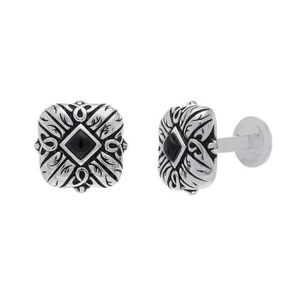 Imagen de Sterling Silver Oxidite with Diamond Design Cufflinks