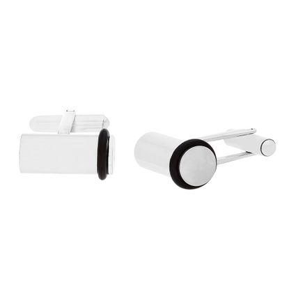 Imagen de Stainless Steel Cylinder with Black Rubber Cufflinks